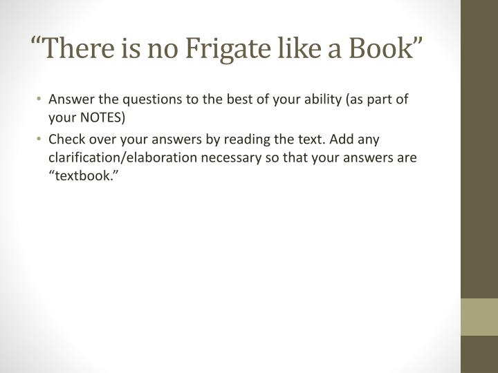 there is no frigate like a book analysis