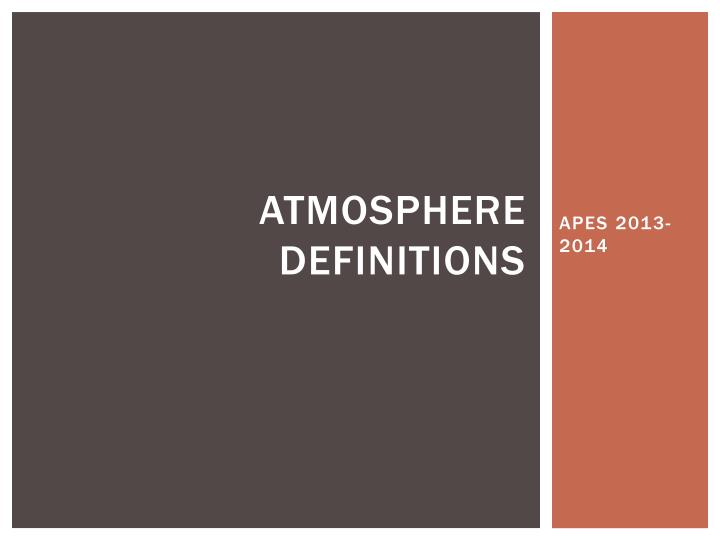 atmosphere definitions n.