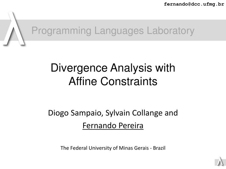 divergence analysis with affine constraints n.