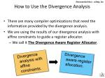how to use the divergence analysis