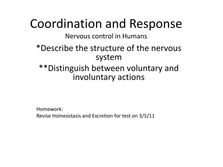 coordination and response nervous control in humans n.