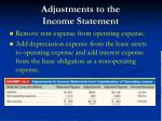 adjustments to the income statement