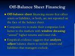 off balance sheet financing