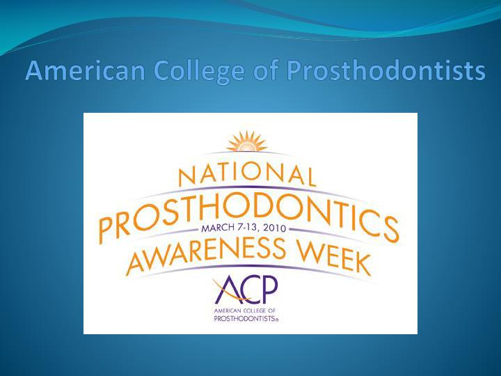 american college of prosthodontists n.