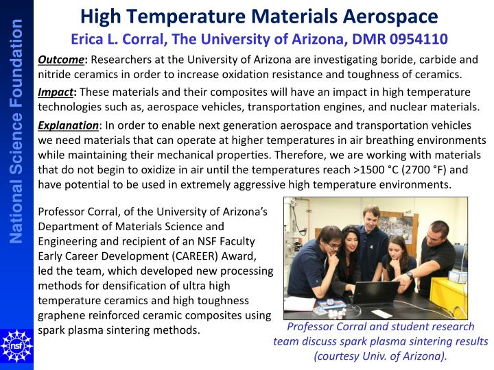high temperature materials aerospace erica l corral the university of arizona dmr 0954110 n.