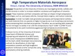 high temperature materials aerospace erica l corral the university of arizona dmr 0954110