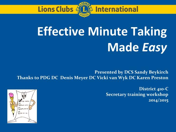 effective minute taking made easy n.