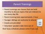 parent trainings
