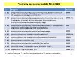 programy operacyjne na lata 2014 2020