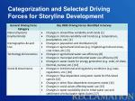 categorization and selected driving forces for storyline development