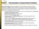characterization of unpaved road conditions