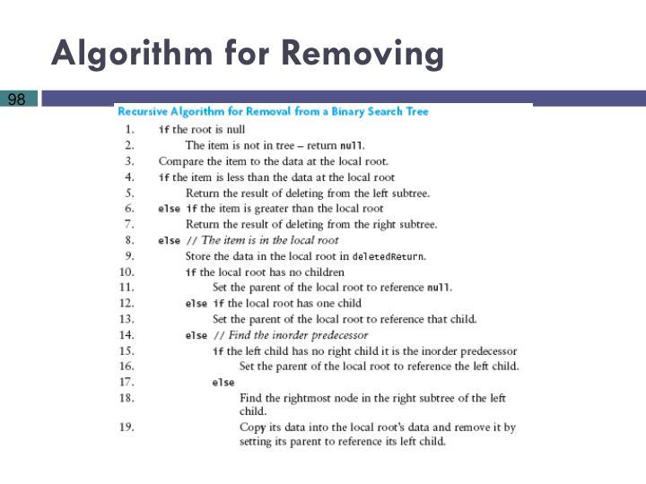 Algorithm for Removing