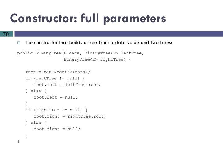 Constructor: full parameters