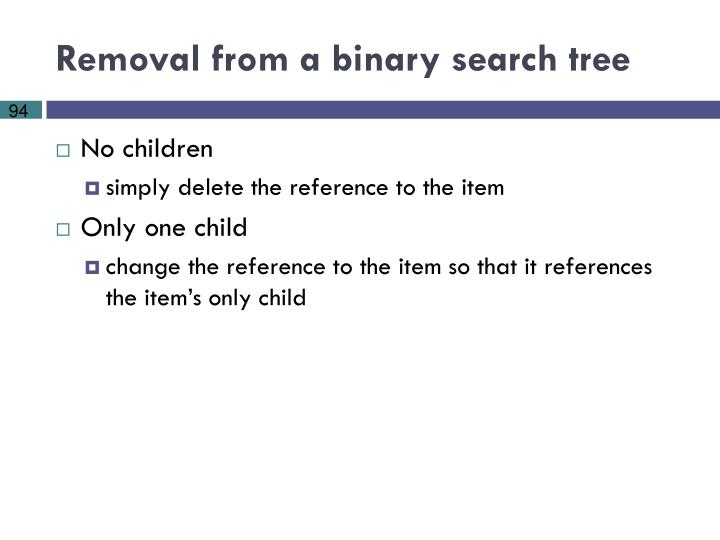 Removal from a binary search tree