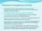 examples of management activities