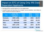 impact on efc of using only irs data dependent applicants