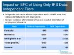impact on efc of using only irs data independent filers