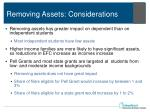 removing assets considerations
