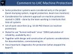 comment to lhc machine protection