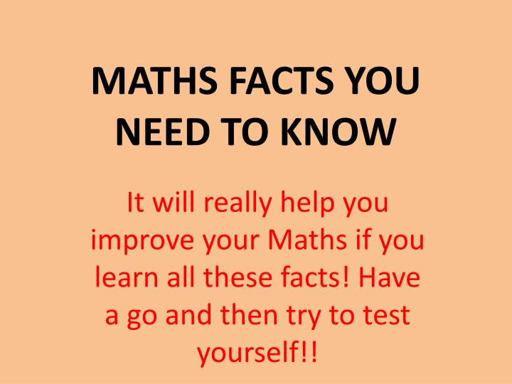 maths facts you need to know n.