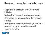 research enabled care homes