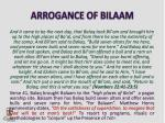 arrogance of bilaam