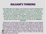 balaam s thinking