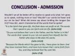 conclusion admission