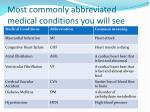 most commonly abbreviated medical conditions you will see