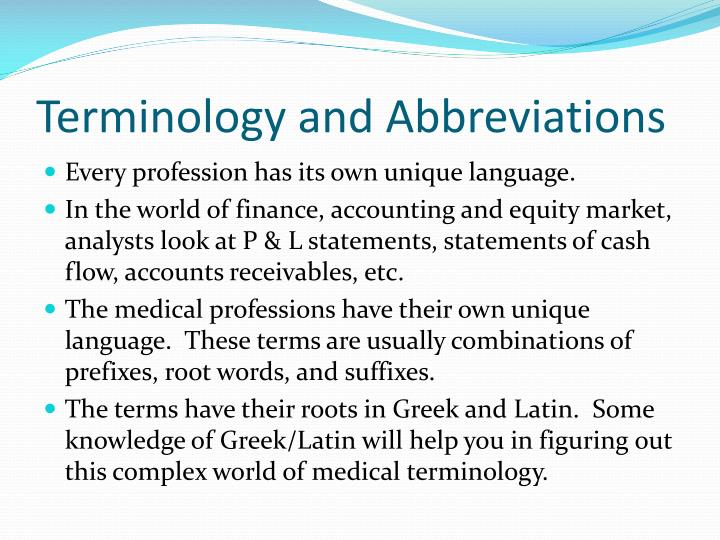 terminology and abbreviations n.
