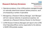 research delivery divisions