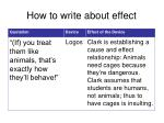 how to write about effect