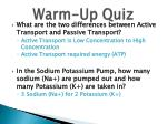 warm up quiz