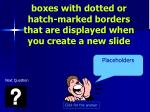 boxes with dotted or hatch marked borders that are displayed when you create a new slide