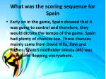 what was the scoring sequence for spain