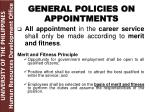 general policies on appointments