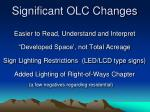 significant olc changes
