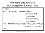 command line interface populating the countries table