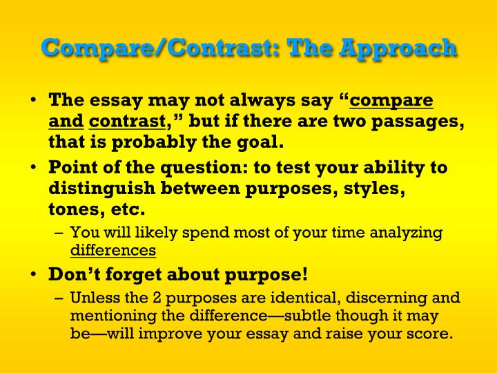 Compare/Contrast: The Approach