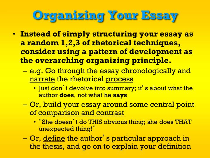 Organizing Your Essay