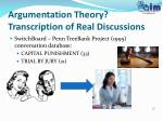 argumentation theory transcription of real discussions