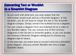 converting text or wordart to a smartart diagram