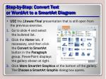 step by step convert text or wordart to a smartart diagram