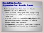 step by step insert an organization chart smartart graphic