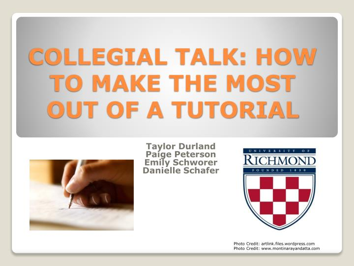collegial talk how to make the most out of a tutorial n.