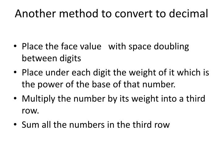 Another method to convert to decimal