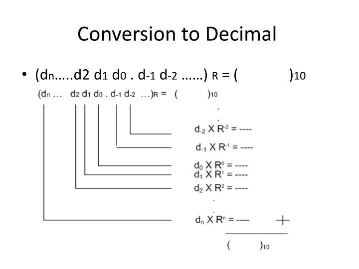 Conversion to Decimal