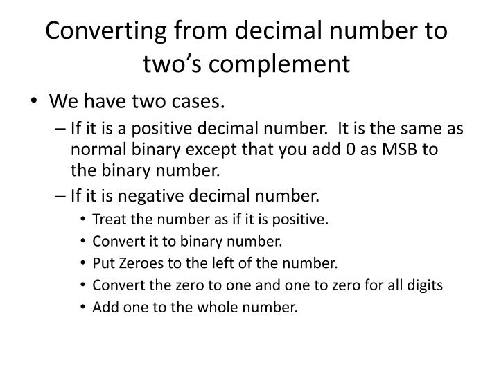 Converting from decimal number to two's complement