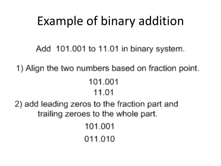 Example of binary addition