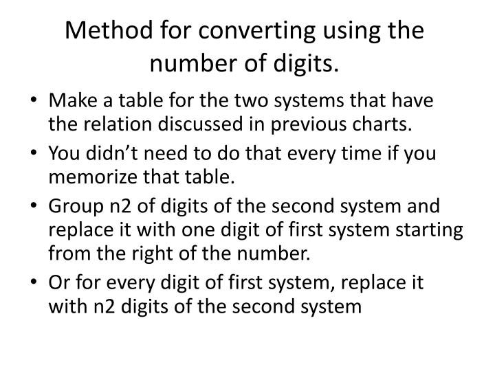 Method for converting using the number of digits.